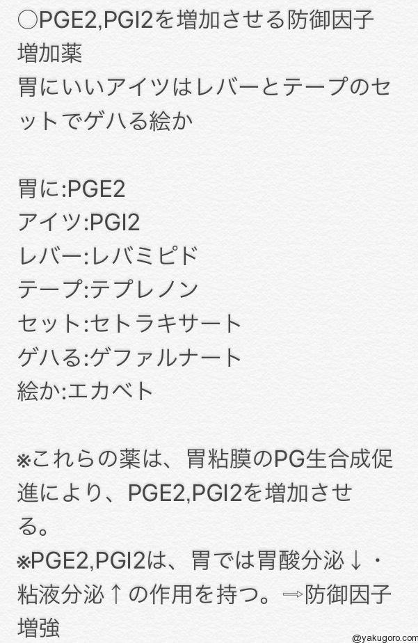 PGE2、PGI2を増加させる某行因子増加薬のゴロ