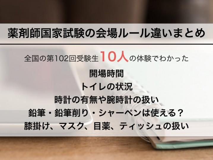 薬剤師国家試験会場ルール違いまとめ.001